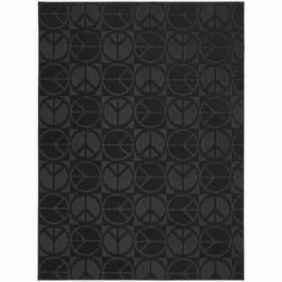 Large Peace Black 8 ft. x 10 ft. Area Rug