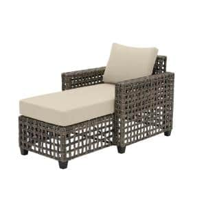 Briar Ridge Brown Wicker Outdoor Patio Chaise Lounge with CushionGuard Putty Tan Cushions