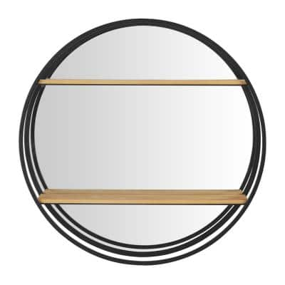 24 in. Diameter x 5 in. D StyleWell Round Wood Black Metal Wall-Mount Bookshelf with Mirror