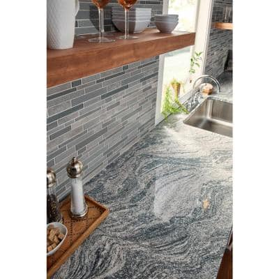 Smoky Alps Interlocking 12 in. x 12 in. x 8mm Textured Glass/Stone Mesh-Mounted Mosaic Tile (9.7 sq. ft. / case)