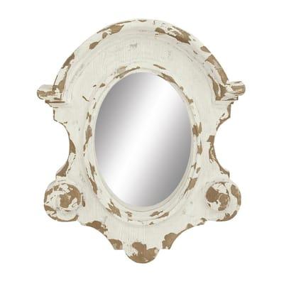 43 in. x 35 in. Mid-Century Oval Framed White Fiberglass Decorative Mirror
