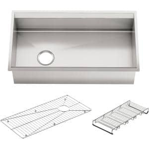8° Undermount Stainless Steel 33 in. Single Bowl Kitchen Sink with Included Accessories