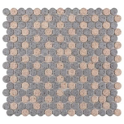 Hudson Penny Round Matte Cookies and Cream 12 in. x 12 in. Porcelain Mosaic Tile (10.74 sq. ft. / Case)