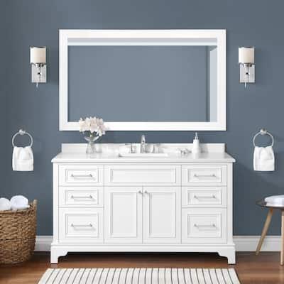 Mara 60 in. W x 22 in. D Bath Vanity in White with Cultured Marble Vanity Top in White with White Basins