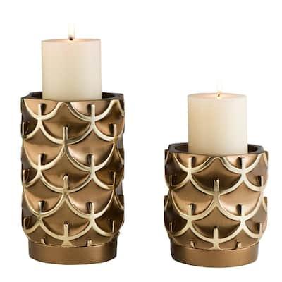 Bronze Mystic Owl Polyresin Candleholders (Set of 2)