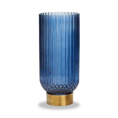 Sullivan 13 1/2 Inch High Blue Brass/Glass Ribbed Vase with Brass Finished Base