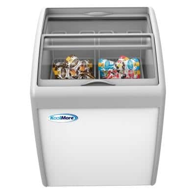 5.7 cu. ft. Manual Defrost Commercial Chest Freezer Ice Cream Display in White