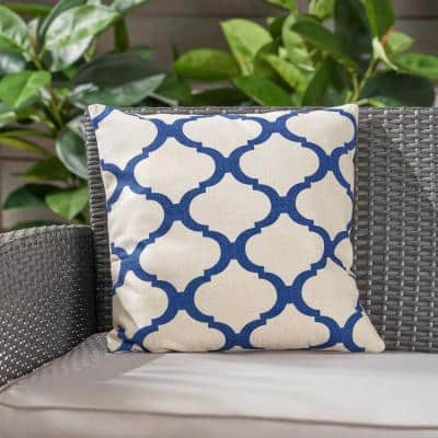 Fira Beige and Blue Square Outdoor Throw Pillow