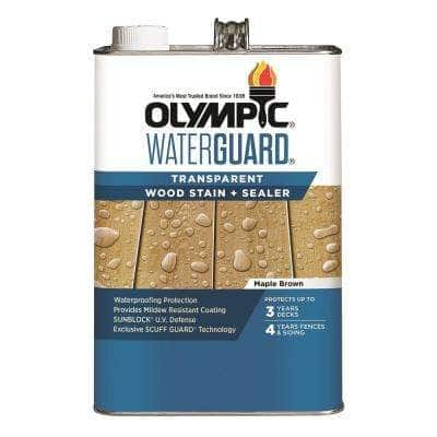 WaterGuard 1 gal. Maple Brown Transparent Wood Stain and Sealer