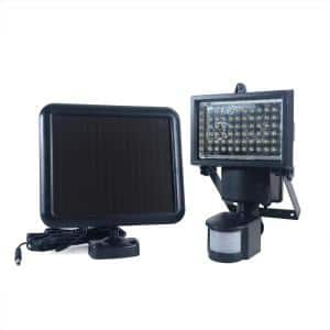 60 Integrated LEDBlackOutdoor Solar Powered Motion Activated SecurityFloodLight