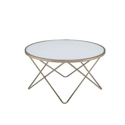 Amelia 34 in. Frosted Glass/Champagne Medium Round Wood Coffee Table