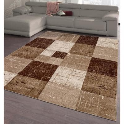 City Collection Brown Squares 5 ft. x 7 ft. Indoor Area Rug