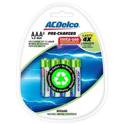 800 mAh Precharged Rechargeable NiMH AAA Battery (8-Pack)