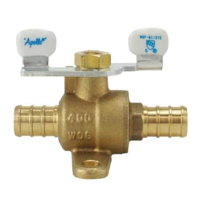 1/2 in. Brass PEX Barb Ball Valve with Tee Handle and Mounting Pad