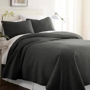 Herring Gray Microfiber King Performance Quilted Coverlet Set