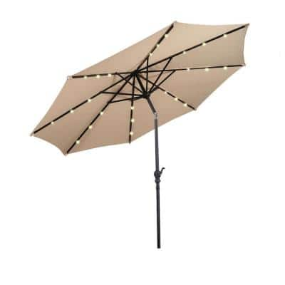10 ft. Steel Market Solar Tilt Patio Umbrella with Crank and LED Lights in Beige
