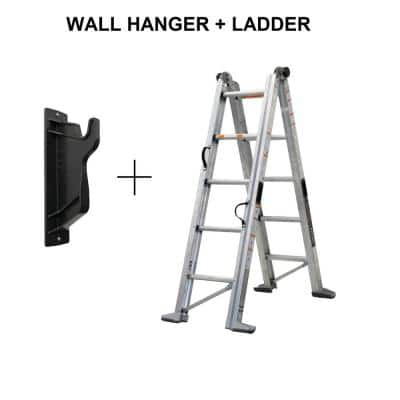 11 ft. H 14 ft. Reach Aluminum Fully Compactable Multi-Position Ladder with Wall Mount 375 lbs. Capacity Type IAA