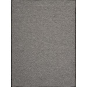Positano Charcoal 8 ft. x 10 ft. Solid Modern Indoor/Outdoor Area Rug