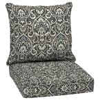 24 in. x 22.5 in. Black Aurora Damask 2-Piece Deep Seating Outdoor Lounge Chair Cushion