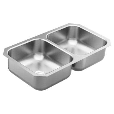 1800 Series Stainless Steel 31.75 in. Double Bowl Undermount Kitchen Sink with 7 in. Depth