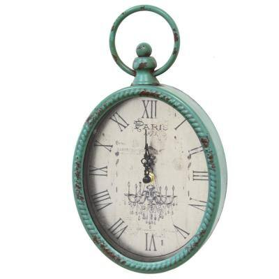 "11.5"" Oval Vintage Teal Clock w/ Metal Shape"