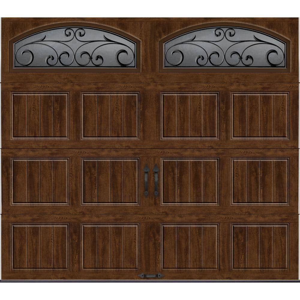 Clopay Gallery Collection 8 Ft X 7 Ft 6 5 R Value Insulated Ultra Grain Walnut Garage Door With Wrought Iron Window Gr1sp Wo Wia2 The Home Depot