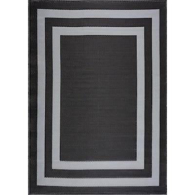 Paris Black and Grey 8 ft. x 10 ft. Geometric Polypropylene Indoor/Outdoor Rug