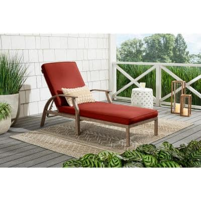 Hampton Bay Geneva Brown Wicker Outdoor Patio Chaise Lounge With Sunbrella Henna Red Cushions Fbs60431 Hen The Home Depot