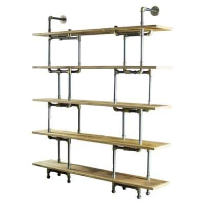 New Age 71 in. Brushed Brass/Aged Gray Metal 5-shelf Etagere Bookcase with Open Storage