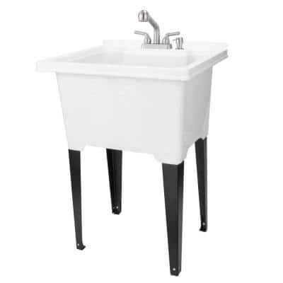 25 in. x 21.5 in. ABS Plastic Freestanding Utility Sink in White - Stainless Sprayer Pull Faucet, Soap Dispenser