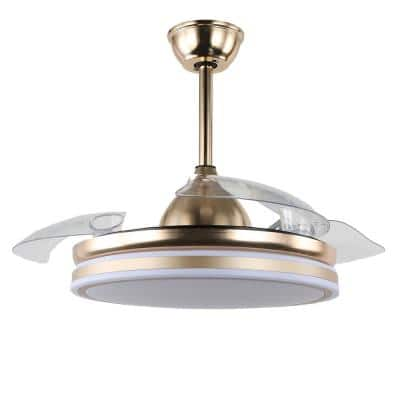 42 in. LED French Gold Retractable Ceiling Fan with Light and Remote Control