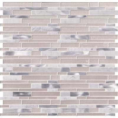 White Wave Interlocking 12 in. x 12 in. x 4 mm Textured Glass/Stone/Metal Mesh-Mounted Mosaic Tile (1 sq. ft.)