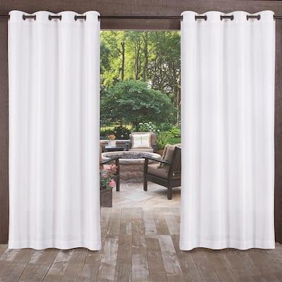 Biscayne White 54 in. W x 96 in L Grommet Top, Indoor/Outdoor Curtain Panel (Set of 2)