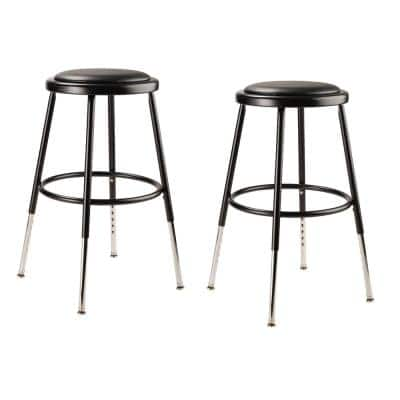 National Public Seating 19 In 27 In Height Adjustable Black Heavy Duty Vinyl Padded Steel Stool 2 Pack 6418h 10 2 The Home Depot