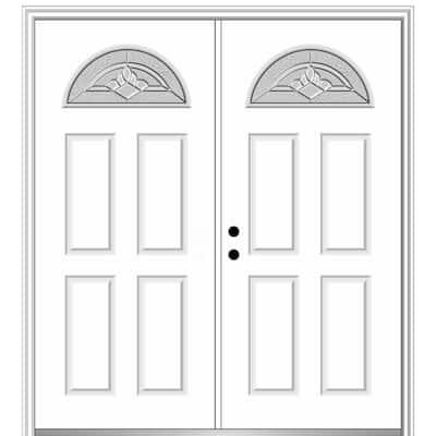 64 in. x 80 in. Grace Right-Hand Inswing Fan-Lite 4-Panel Decorative Primed Steel Prehung Front Door on 4-9/16 in. Frame