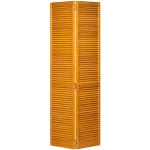 36 in. x 80 in. Traditional Louver Golden Oak Solid Core Wood Bi-Fold Door