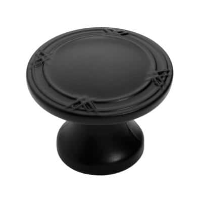 1-3/8 in. Flat Black Ribbon and Reed Cabinet Knob (25-Pack)