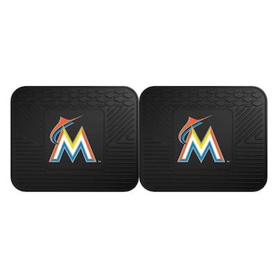 MLB Miami Marlins Black Heavy Duty 2-Piece 14 in. x 17 in. Vinyl Utility Mat
