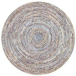 Dara Striped Coastal Jute Blue 8 ft. x 8 ft. Round Rug