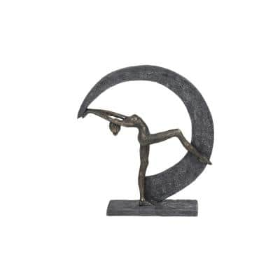 13.5 in. x 14.5 in. Abstract Dancing Figurine with Crescent Moon Statue