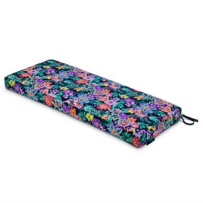 Vera Bradley 54 in. L x 18 in. D x 3 in. Thick Bench Cushion in Happy Blooms
