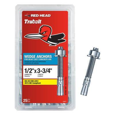 1/2 in. x 3-3/4 in. Zinc Steel Hex-Nut-Head Solid Concrete Wedge Anchors (25-Pack)