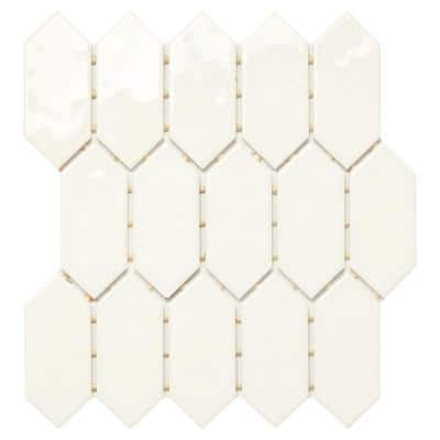 LuxeCraft 11 in. x 12 in. x 6.35 mm White Ceramic Picket Mosaic Wall Tile (0.73 sq. ft./Each)