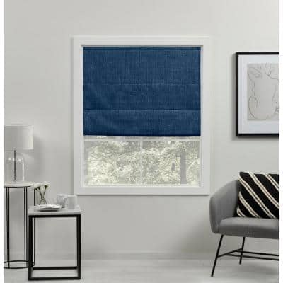 Acadia Chambray Blue Cordless Total Blackout Roman Shade 31 in. W x 64 in. L