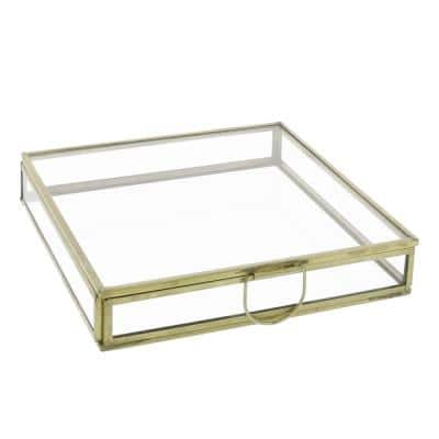 Modern Designed Gold and Clear Flat Square Top Box with Glass Walls