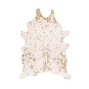 Iraida Faux Cowhide Off-White 5 ft. x 7 ft. Shaped Accent Rug