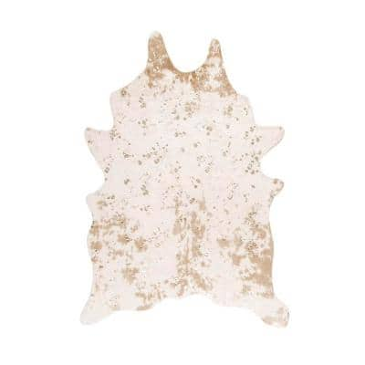 Iraida Faux Cowhide Off-White 6 ft. x 8 ft. Shaped Accent Rug