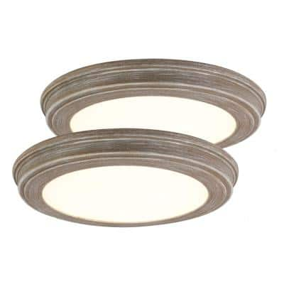 13 in. Weathered Gray Wood Color Changing LED Ceiling Flush Mount (2-Pack)
