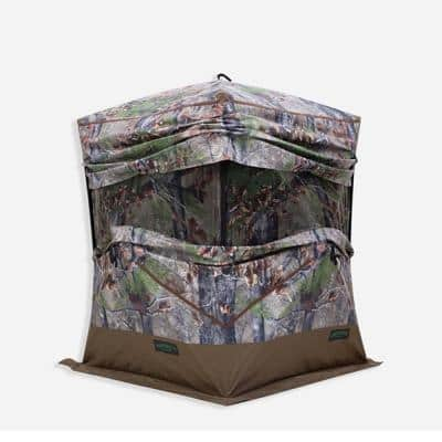 OX 300 Hub 3-Person Pop Up Hunting Blind Ground Tent, Backwoods Camo