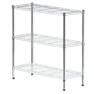 Chrome 3-Tier Metal Wire Shelving Unit (36 in. W x 37 in. H x 14 in. D)